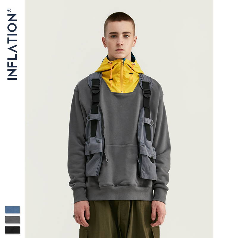 INFLATION 2019 FW Contrast Color Hooded Men Hoodies With Pouch Pocket Loose Fit Mens Streetwear Autumn Winter Hoodies 9618W