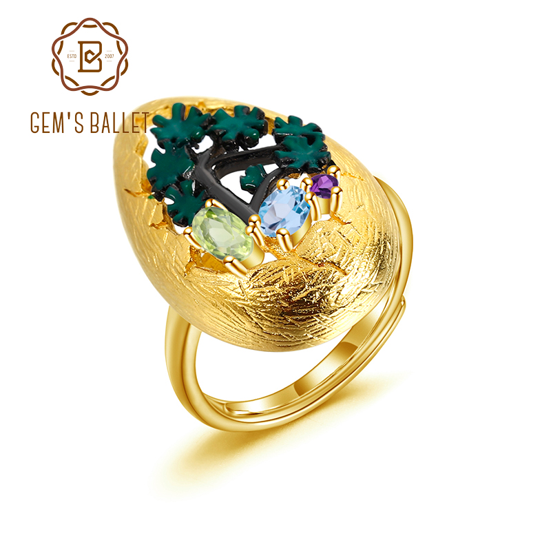 GEM'S BALLET 925 Silver Gold Plated Handmade Tree Enamel Craft Ring Natural Mixed Gemstone Women's Adjustable Cocktail Rings
