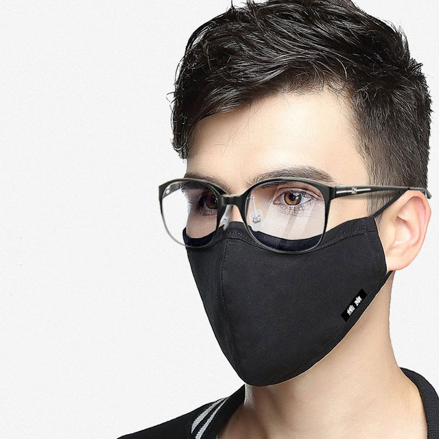 Korean Cotton Face Mask Anti-Dust Mask Respirator with Activated Carbon Filter Anti Dust Black Kpop Glasses Mask On The Mouth 3