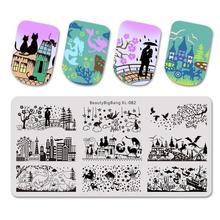 Beautybigbang plaques destampage 6x12cm, Image imprimée, avec motif de parc en dinosaures, amoureux de la ville et de la maison, Nail Art, XL 082