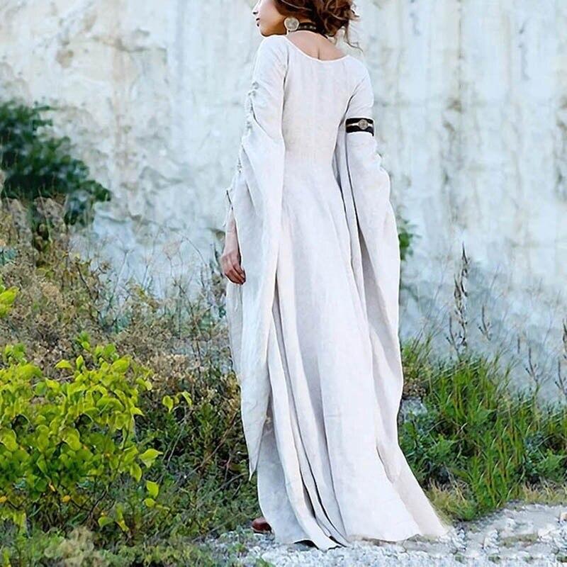 New Medieval Women Dress Renaissance Floor Length Dress Chemise Dress Garb Costume Long Sleeve Gothic Dress Gown Cosplay Costum