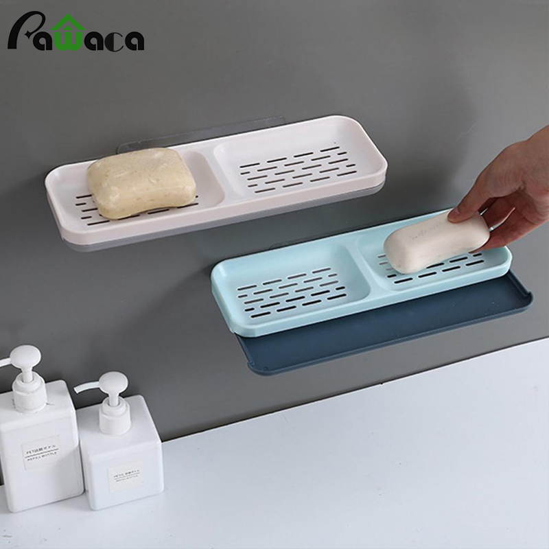 2 Grid Suction Cup Soap Dish Holder Wall Mounted Draining Soap Holder Double Layers Soap Container Shower Bathroom Accessories