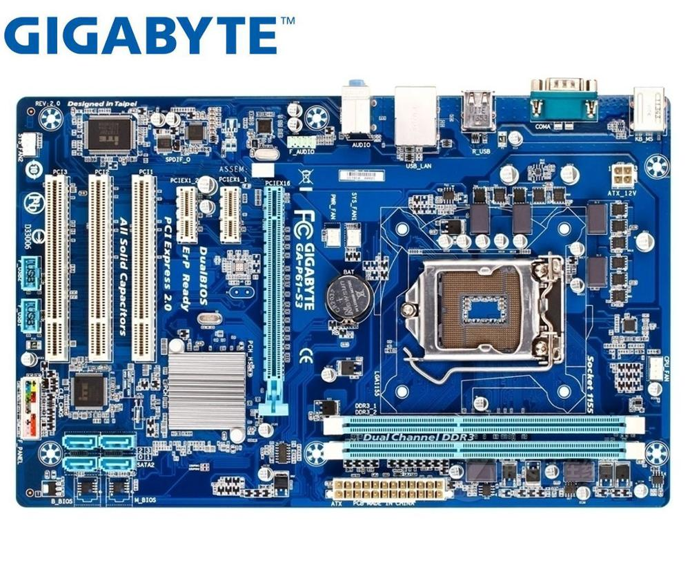 Desktop Motherboard Used GIGABYTE GA-P61-S3-B3  GA-P61-S3 H61 Socket LGA 1155 I3 I5 I7 DDR3 16G ATX Original P61-S3-B3 PC