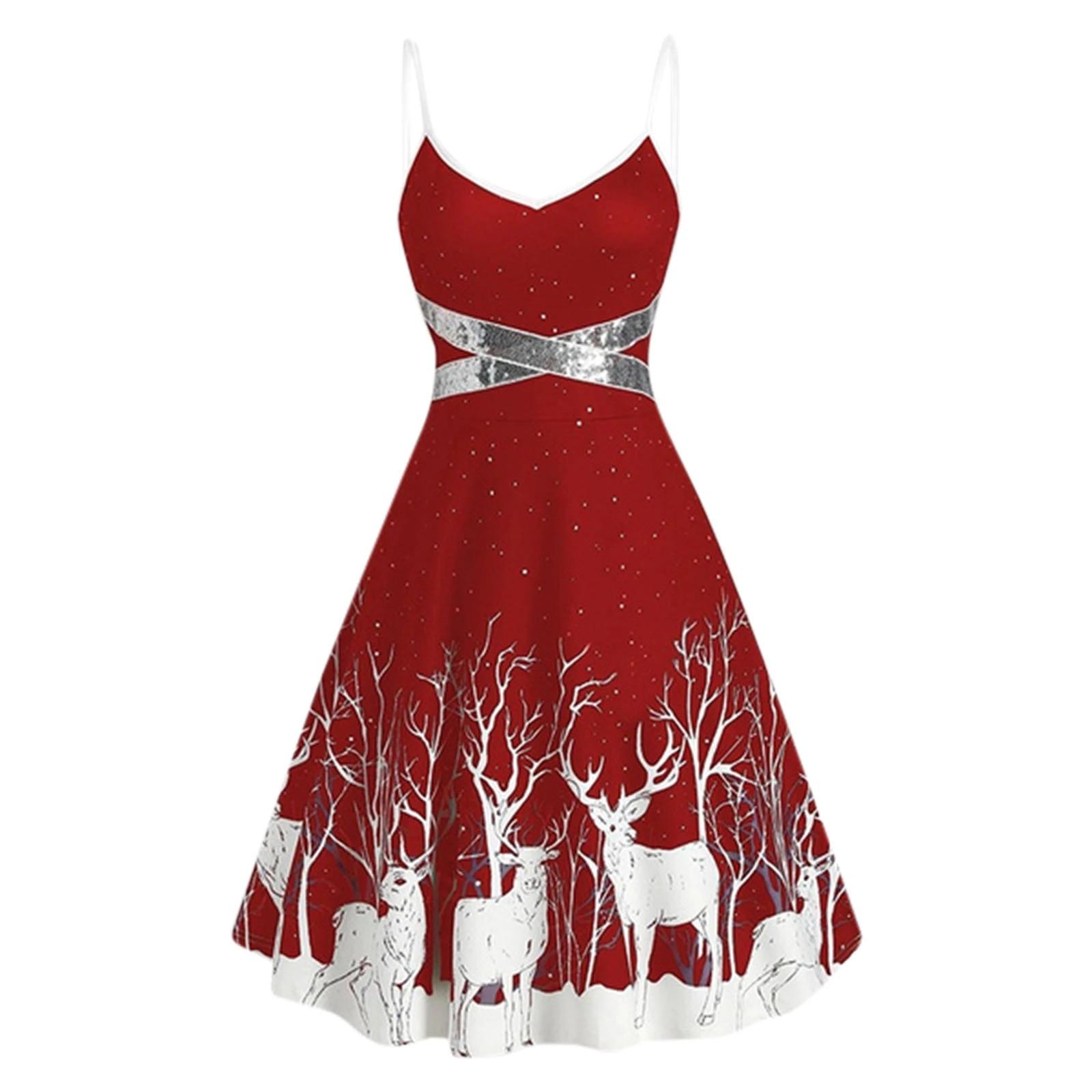 Christmas Print Dresses 2020 2020 Christmas Print Dress Sequin Patchwork Sleeveless Dress Sexy