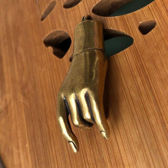 Retro Antieke Koperen Boeddha Hand Geluk Hangers Sieraden Mannen Auto Sleutelhanger Ketting Hanger Feng Shui Decoraties Ornamenten Ambachten