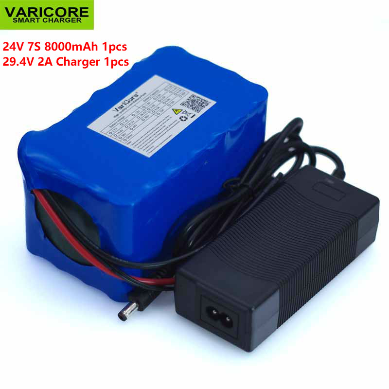 VariCore 24V 8Ah 7S4P 18650 <font><b>battery</b></font> pack 29.4 <font><b>v</b></font> electric bicycle / electric / lithium ion <font><b>battery</b></font> pack with BMS + charger image