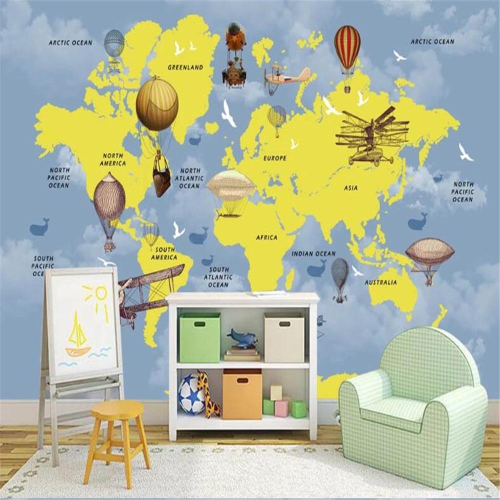 Milofi custom 3D wallpaper mural children cartoon world map background wall large wallpaper mural