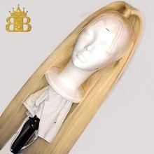 Парик блонд 613 с эффектом омбре, парики из человеческих волос с T образной передней частью, бразильские прямые волосы без повреждений, прозрачный парик на сетке, нагрудник, волосы плотностью 130%