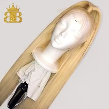Ombre 613 Blonde Wig T Lace Front Human Hair Wigs Brazilian Remy Straight Hair Transparent Lace Wig BIB Hair 130% density