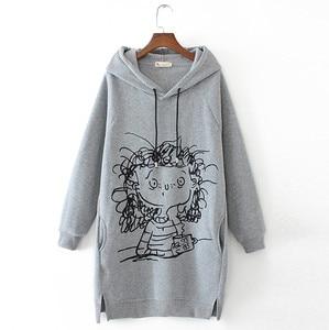 Women Long Hoodie Sweatshirt Pullover Cartoon Print Long Sleeve Splited Pockets Sweatshirt Hoody Pullovers Dress Sudadera Mujer