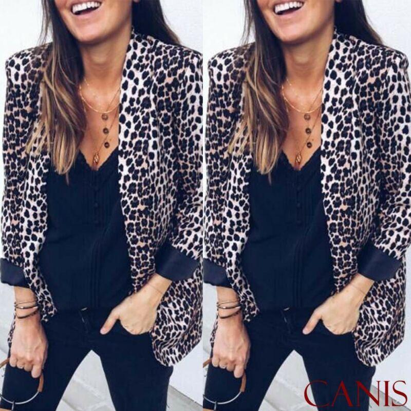 Women Blazers Slim OL Suit Casual Blazer Leopard Jacket Coat Tops Outwear Long Sleeve Print Long Sleeve Blazers Female Clothes