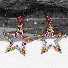 Huitan brilhante estrela brincos feminino versátil acessórios feminino delicado uso diário dança festa balançar brinco transporte da gota