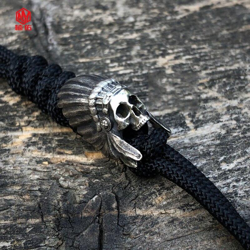 1PC Original à la main 925 argent indien crâne EDC Paracord perles lanière pendentifs couteau perles parapluie corde cordon perles pendentifs - 3