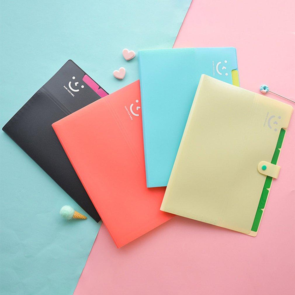 A4 12 Grid Multi-layer Folder Expanding File Folders Document Organizer Cute Smile Organ Bag Student Test Paper Clip