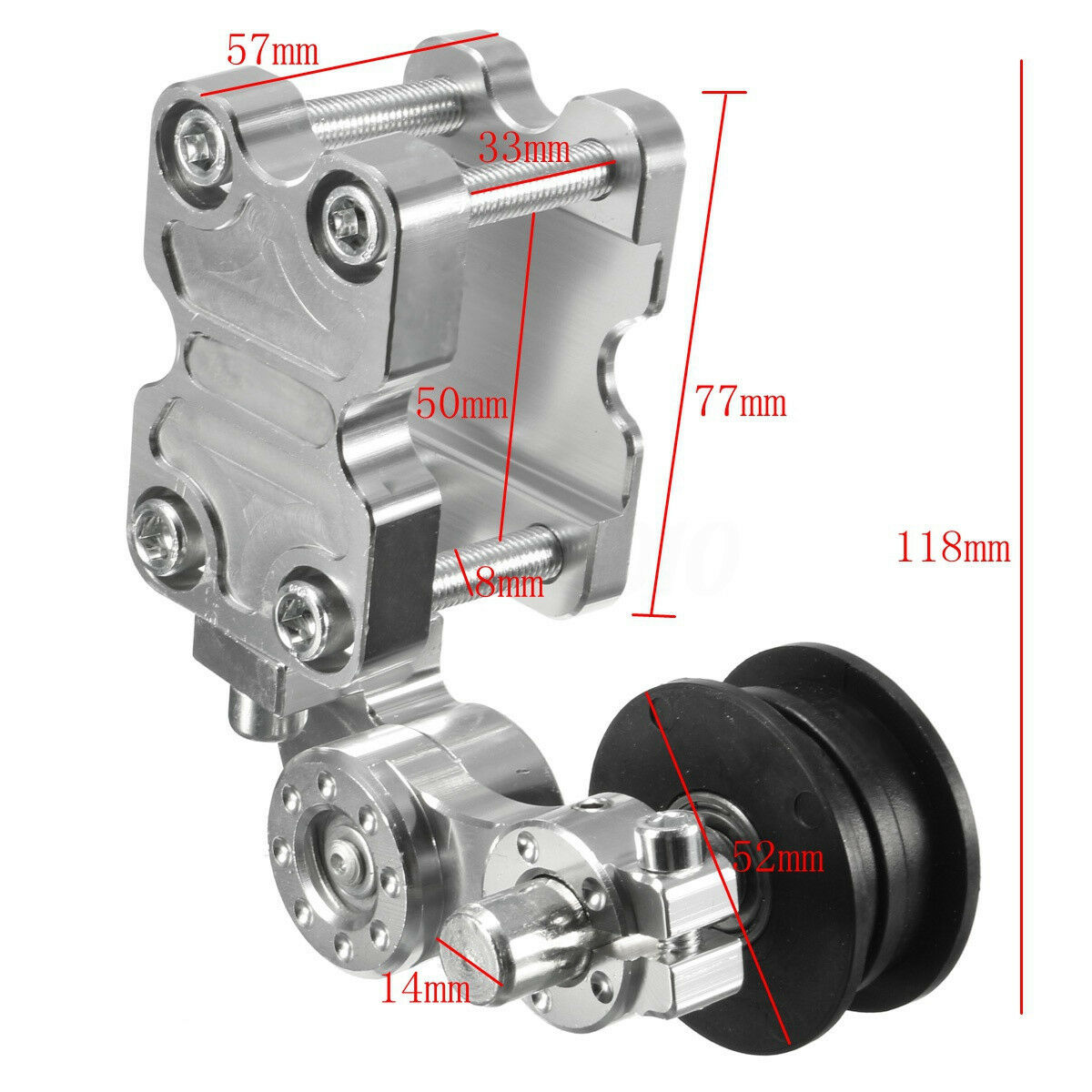 Motorcycle Chopper Chain Tensioner Chain Tensioner Roller Universal Chopper Chain Tensioner Adjuster Gear Aluminum+ Rubber