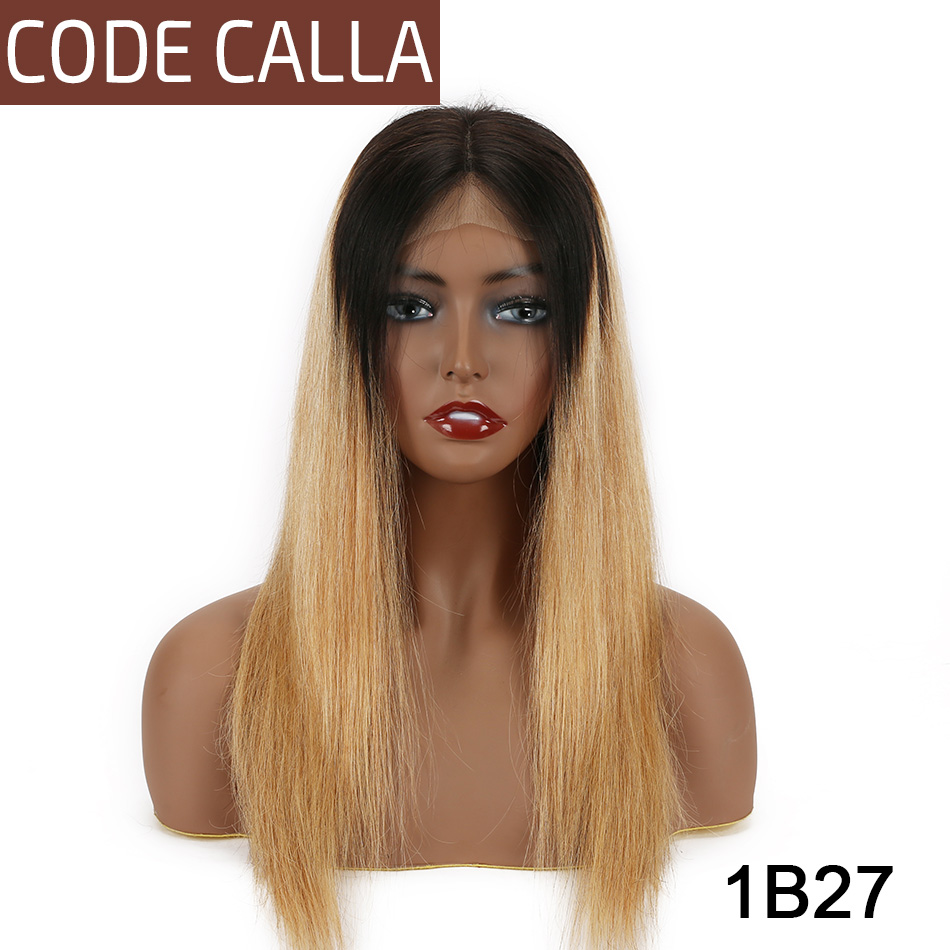 CODE CALLA Ombre Peruvian Straight Human Hair Wigs For Women 13*4 Lace Frontal Pre-Plucked Hairline 150% Density Lace Front Wig