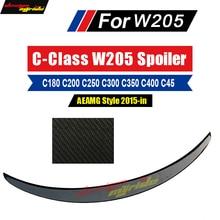 For Mercedes Benz W205 Trunk Spoiler Rear Wing AEAMG-style Carbon fiber C Class 2-door C180 C200 C250 300 350 Spoiler Wing 15-18 недорого
