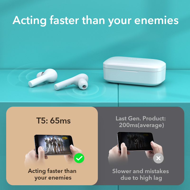 QCY T5 Bluetooth Earphones V5.0 Wireless Headphones Touch Control Stereo HD talking with 380mAh battery charging box 4