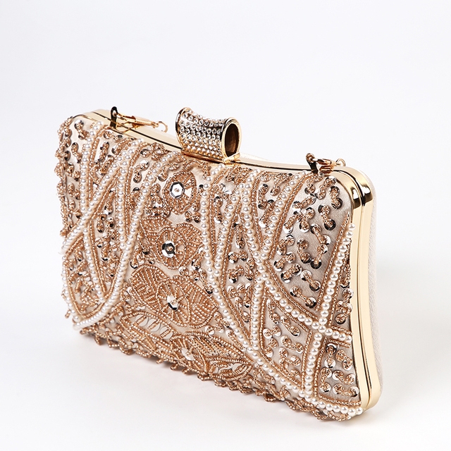 Luxury Apricot Pearl Evening Clutch   6