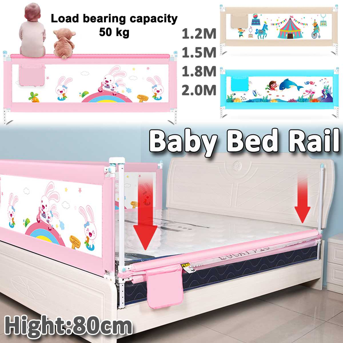 1.2M/1.5M/1.8M/2M Kid Bedguard Toddler Safety Bed Rail Guard Rail Folding Sleep Kids Playen Safety Gate For Baby Safe Guard