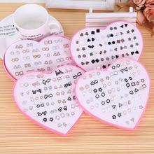 Korean Fashion Stud Earrings women kids earring 36 pairs Geometric element earrings  jewelry Pipi xia