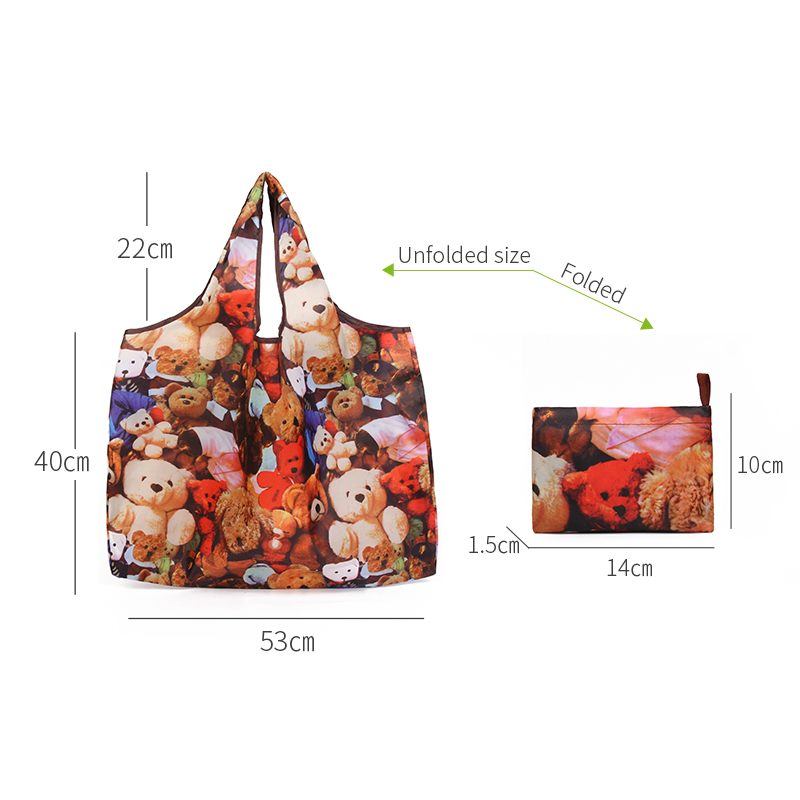 MABULA Cartoon Large Reusable Grocery Bags  Washable Eco Friendly Foldable Shopping Bag Waterproof Polyester Travel Tote pouch