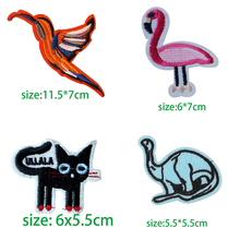 1PCS Colour Cartoon Animals  Embroidery Patches for Clothing Stripes Written Words Sticker Clothes Badges