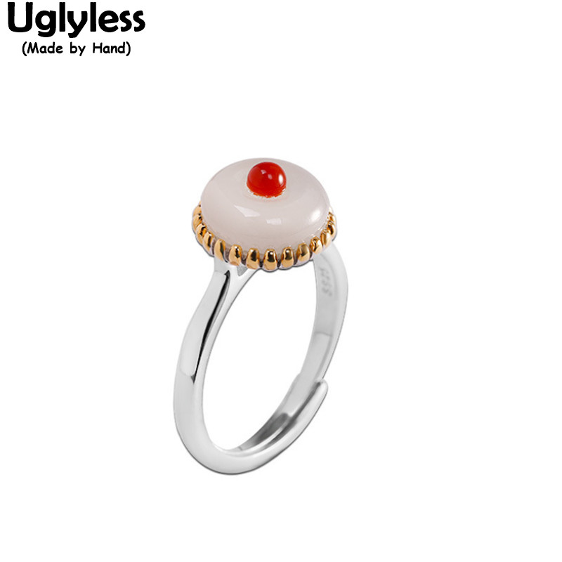Uglyless Like a White Cake Agate Embellished on Jade Rings for Women Fashion Simple Gemstones Jewelry Glossy 925 Silver Rings