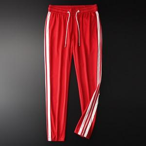 Image 2 - Minglu אדום Mens מכנסיים יוקרה אביב ובסתיו סרט קצה גברים מכנסיים בתוספת גודל 3XL 4XL אלסטי מותן Slim Fit ספורט מכנסיים Man