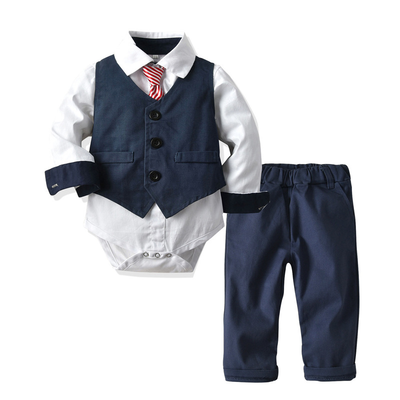 Baby Boy Tie Formal Clothing Vest Romper Suit For 9 12 18 24 Months Baby Suits White&Red Party Birthday Kid Gentleman Clothes