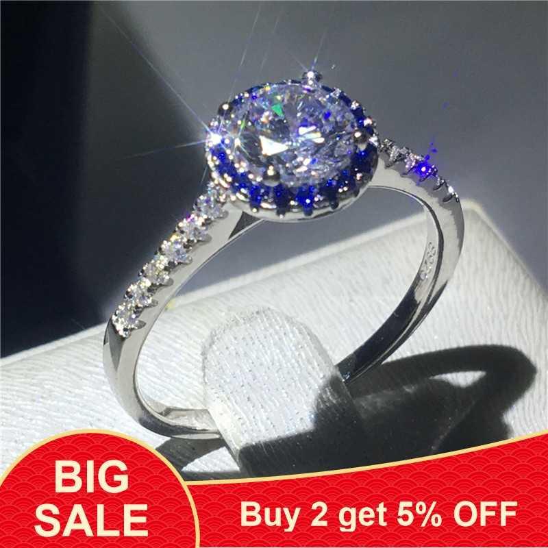 เครื่องประดับหญิง 100% Solid 925 เงินสเตอร์ลิงแหวน Sona 5A zircon แหวนหมั้นแหวนแต่งงานสำหรับผู้หญิงผู้ชายของขวัญ