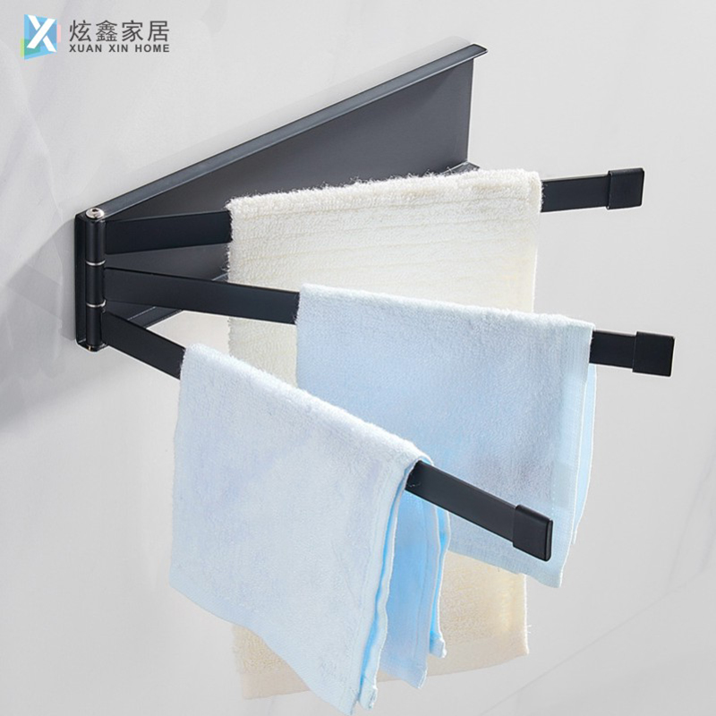 Bathroom Towel Rack Wall Mounted Space Aluminum Foldable Rotating Three Bar Towel Hanger Kitchen Holder Supplies Accessorie