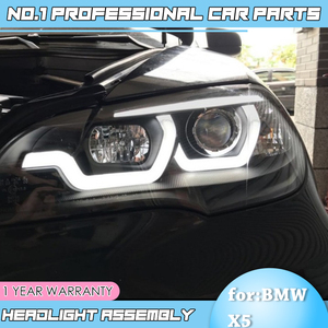 Image 5 - car accessories for BMW X5 e70 2007 2013 Headlight for BMW X5 Head Lamp Auto LED DRL Double Beam H7 HID Xenon bi xenon lens