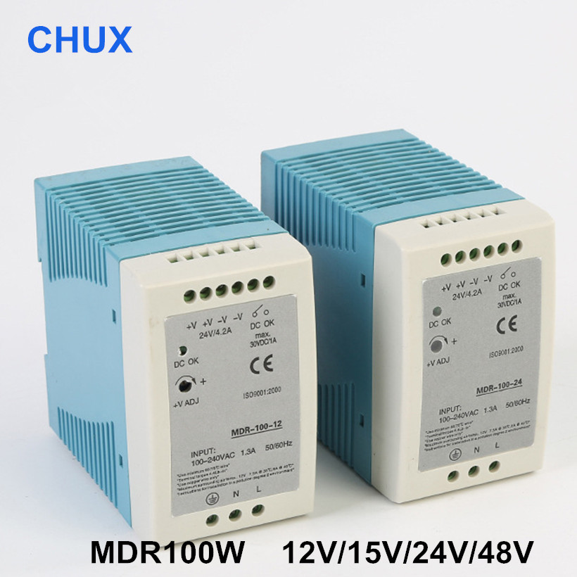 CHUX <font><b>100W</b></font> Switching Power Supply 12V <font><b>24V</b></font> 15V 48V Din rail type MDR <font><b>100W</b></font> <font><b>Meanwell</b></font> type SMPS LED Power Adapt image