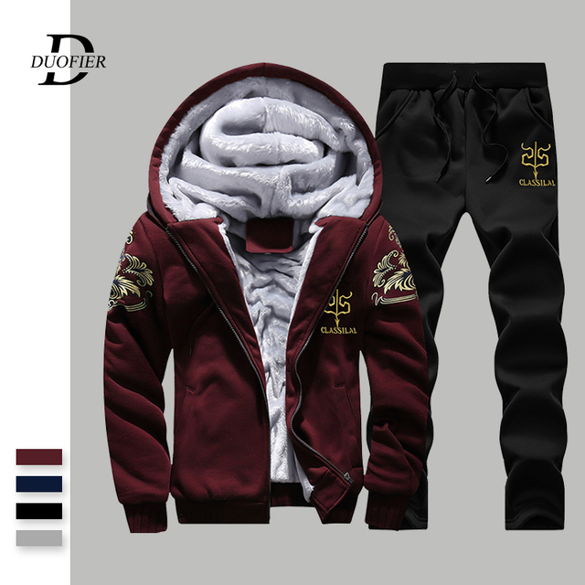 Winter Men Sets Hoodies Warm Thick Fleece Casual Tracksuit Mens Sporting Hooded Jackets+Pants 2PC Sets Printed Sweatsuit Male