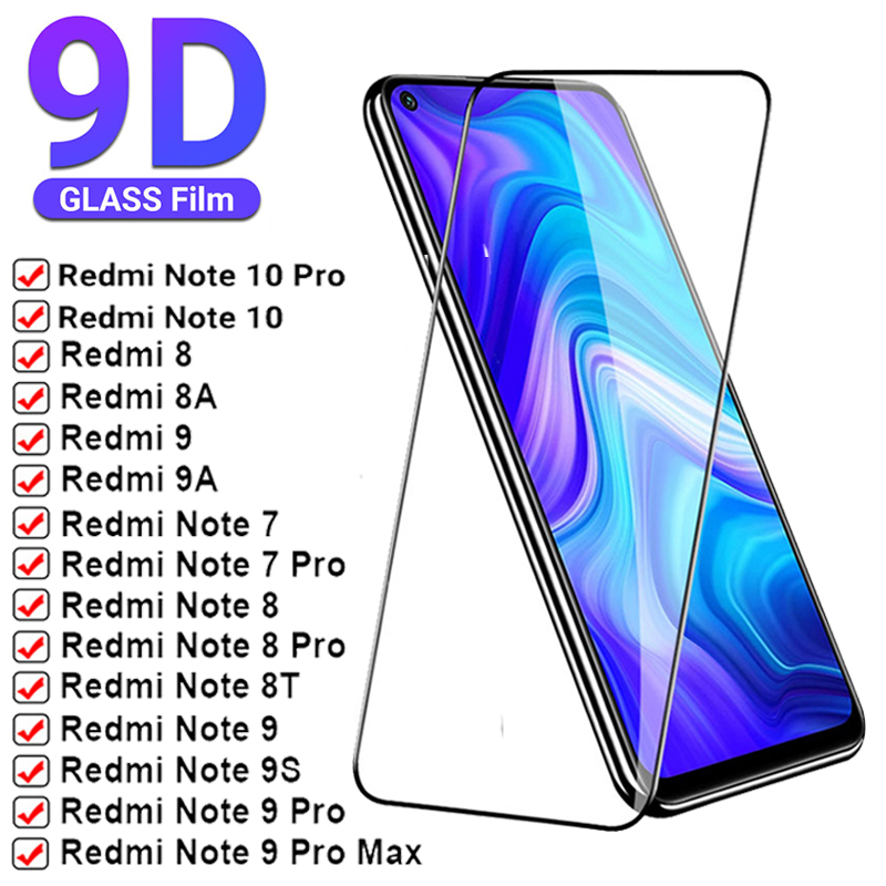 Full Cover Tempered Glass on For Xiaomi Redmi Note 9 10 8 Pro 7 9A Screen Protectors Protective Glass For Poco X3 M3 F3 Pro Film
