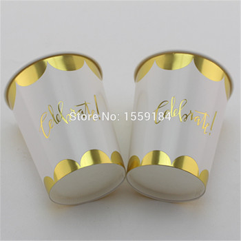 New Design!!!  240pcs Foil Gold Paper Cups Wedding Birthday Party Supplies Drinking Paper Cups Free Shipping