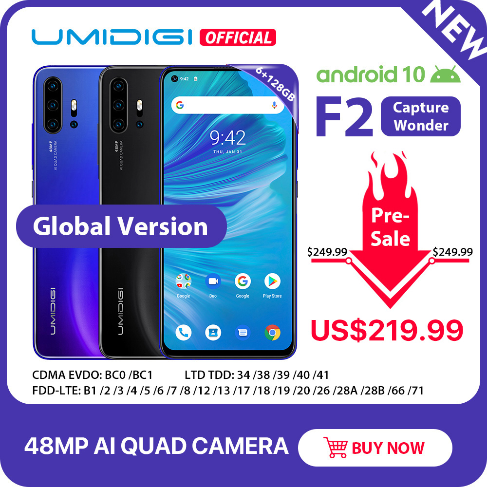 "Pre-sale UMIDIGI F2 Android 10 Global Version 6.53""FHD+6GB 128GB 48MP AI Quad Camera 32MP Selfie Helio P70 Cellphone 5150mAh NFC"