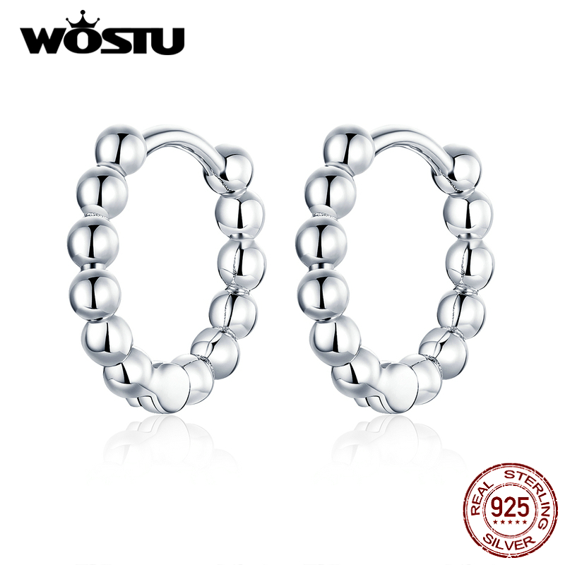WOSTU 100% Real 925 Sterling Silver Circle Earrings With Litter Cute Ball Hot Fashion Silver & Gold Color Earring For Women Gift