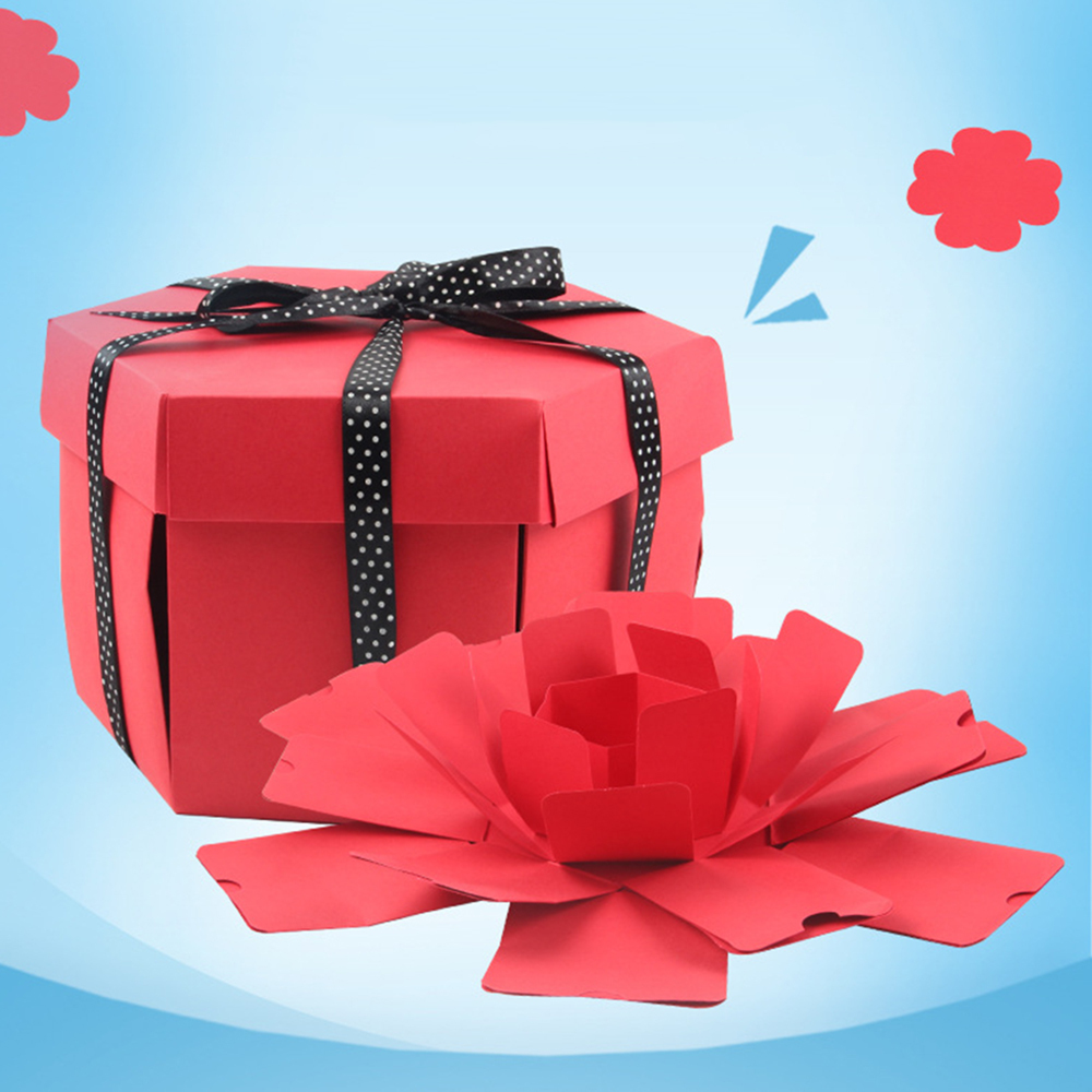New DIY Hexagon Surprise Explosion Box Gift Packaging Album Box Scrapbook Photo Album Gifts For Valentine's Day Wedding N26