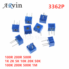 10pcs 3362P Series Resistance 101 201 501 102 202 502 103 204 Trimpo Trimmer Potentiometer 3362 500R 1K 2K 5K 10K 20K 50K 100K