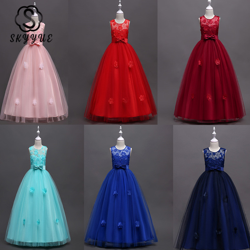 Skyyue Girl Princess Party Dress For Wedding O-neck Sleeveless Elegant Princess Dress Kid Party Communion Dress Pink 2019 591