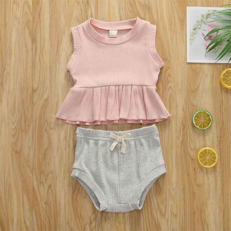 2020 algodón 2 uds. Ropa de niña recién nacida con volantes camiseta Top vestido + Pantalones sólidos pantalones cortos traje de verano conjunto de Ropa para Niñas lindas