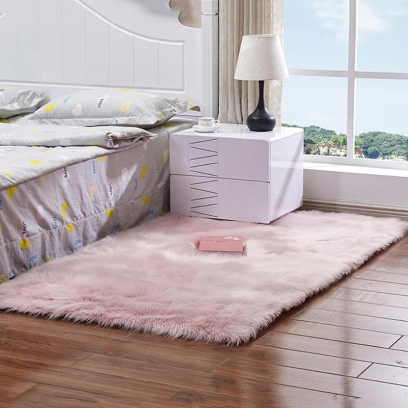 Multisize Bedroom Artificial Wool Rug Carpet Rectangle Washable Seat Pad Faux Mat For Living Room Bedroom Carpet Soft Anti-slip