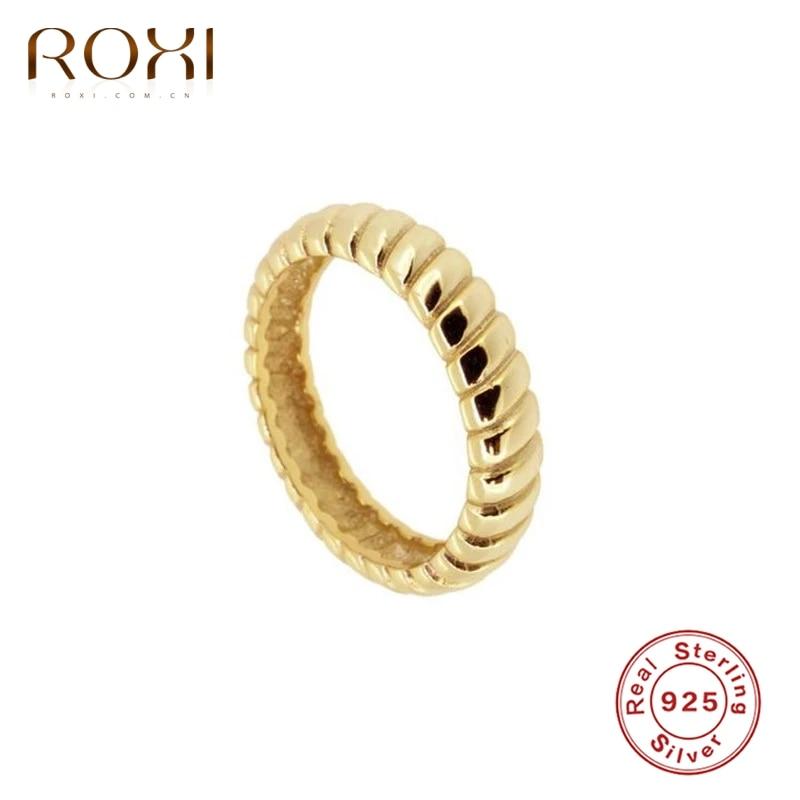 ROXI Ins-anillo de boda de plata de ley 925, anillo redondo sencillo, joyería de compromiso