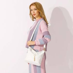 """Image 3 - """"חדש אופנה נשים כתף תיק מתכת ציצית 100% עור אמיתי ליידי Crossbody שליח אלגנטי מתנת תיק שחור לבן"""