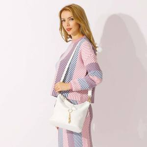 Image 3 - Zency New Fashion Women Shoulder Bag Metal Tassel 100% Genuine Leather Lady Crossbody Messenger Elegant Gift Handbag Black White