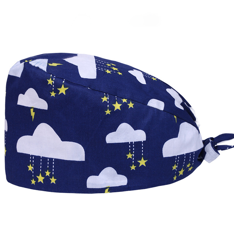 Clouds Surgical Caps Medical Nurse Work Hat Chef Cooking Working Skull Cap 100% Cotton Tieback With Sweatband Nursing