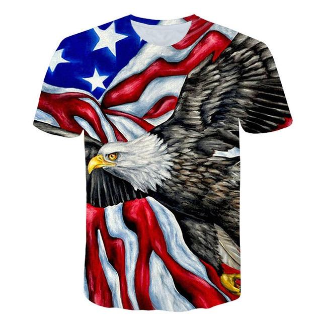 Fashion Short Sleeve T Shirt Men American Animal Eagle 3D Print O collar T-Shirts Casual Harajuku Streetwear Tshirt S-6XL