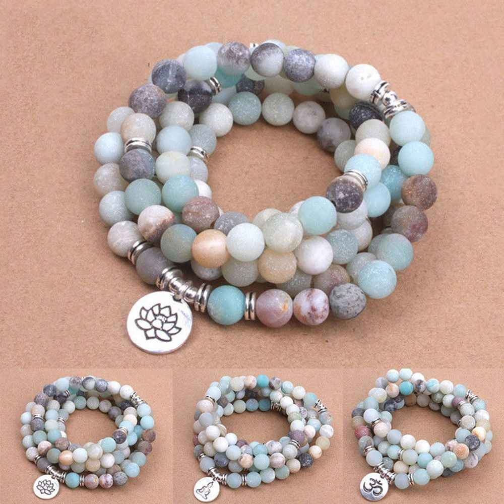 Mode Vrouwen Armband Matte Frosted Amazoniet Kralen Met Lotus Om Boeddha Charm Yoga Armband 108 Mala Ketting Dropshipping